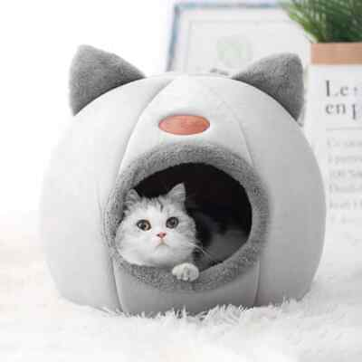 £8.99 • Buy Cat Small Dog House Bed Kitten Pet Igloo Soft Fleece Cave Puppy Cozy Hut Kennel