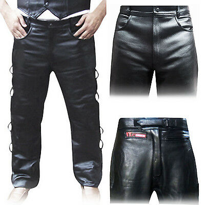 £19.99 • Buy Leather Biker Trousers / Tights Jeans Leather Pants Plain,Padded,Side Laces