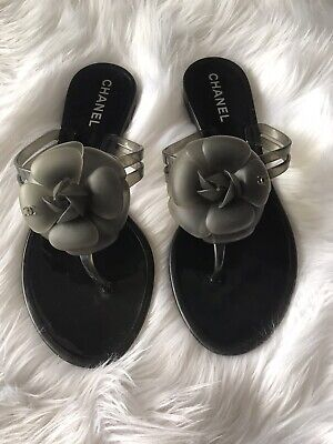 £231.40 • Buy Authentic Chanel Camellia Rubber Flip Flops Size 7 Made In Italy