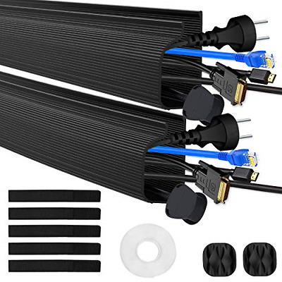£16.18 • Buy 2 Packs J Channel Cable Raceway Black Cable Trunking Hiding Wall Mount TV Powers