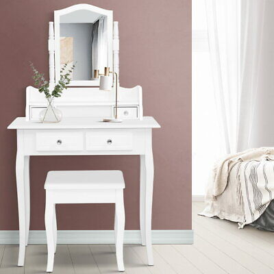 AU143.90 • Buy Dressing Table Stool Mirror Jewellery Cabinet White Tables Drawers Box Organizer