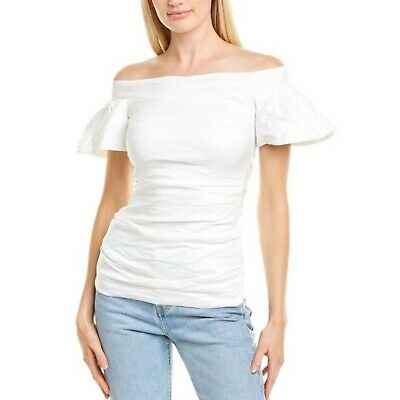$40 • Buy Nicole Miller Off The Shoulder A-line White Blouse Small  $275