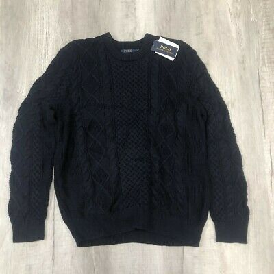 $69.99 • Buy Polo Ralph Lauren Mens Navy Blue Cable Knit Crew Neck Sweater L