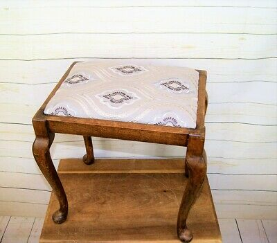 £58 • Buy Antique Edwardian Rectangular Wooden Stool Cabriole Legs Upholstered Seat