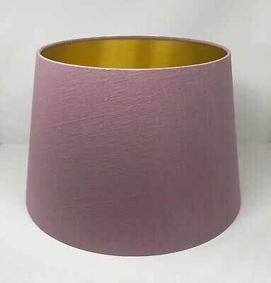 £65 • Buy Empire Tapered Mauve Textured 100%  Linen Brushed Gold Lampshade