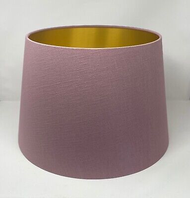 £32 • Buy Lampshade Tapered Mauve Textured 100%  Linen Brushed Gold Empire Lampshade
