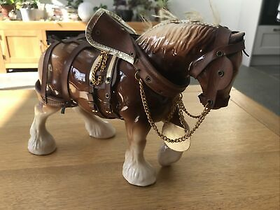 Large Vintage Livery Staffordshire England Shire Horse Figurine • 18£