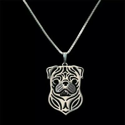 £2.99 • Buy Stunning Silver Tone Pug Dog Necklace.With Organza Gift Bag