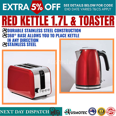 AU73.98 • Buy Combo RED Toaster 2 Slice & Kettle 1.7L Automatic Stainless Steel Electric Set