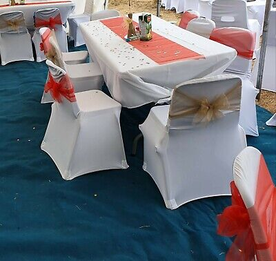 £1 • Buy 100PCS White Chair Covers Full Seat Cover Spandex Lycra Stretch Banquet. HIRE**