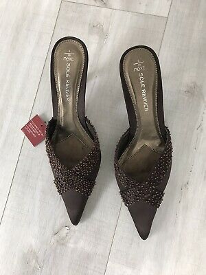 £9.99 • Buy NWT Ladies Next Sole Reviver Slip On Heel Backless Shoes UK Size 6, Brown Beaded