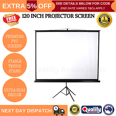 AU125 • Buy 120 Inch Projector Screen Motorised 3D Cinema Tripod Stand Retractable Home NEW