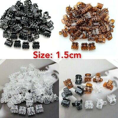 Small Hair Claw Clips Clamps 1.5cm Plastic Black Brown White Hair Clips Grips    • 5.99£