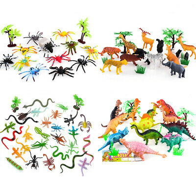 £5.95 • Buy 12-17Pcs Mini Plastic Insects Dinosaurs Lizards Spiders Kids Toy For Educational