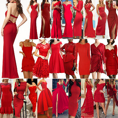 AU25.39 • Buy Sexy Women Ladies Red Ball Gown Party Dress Evening Cocktail Bridesmaid Formal