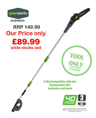 £89.99 • Buy Greenworks Duramaxx 40V Pole Saw Tool Only Great Price