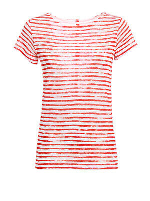 $46 • Buy $175. MAJESTIC FILATURES Striped Linen Button-Back Deluxe Tee  * NWT * Sz 5 (XL)