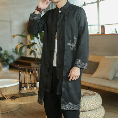 $35.60 • Buy Mens Trench Chinese Coat Long Embroidery Tang Suit Crane Print Robe Jacket Tops
