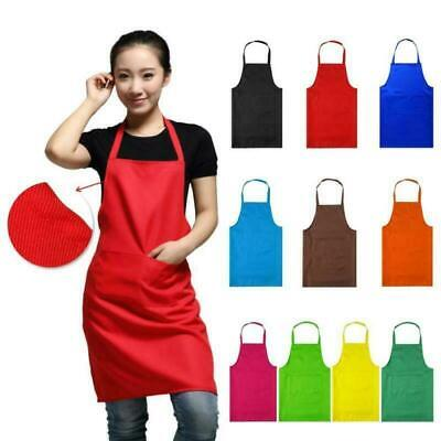 £2.73 • Buy Women Plain Aprons + Front Pocket For Chefs Butcher Kitchen Cooking Craft Baking