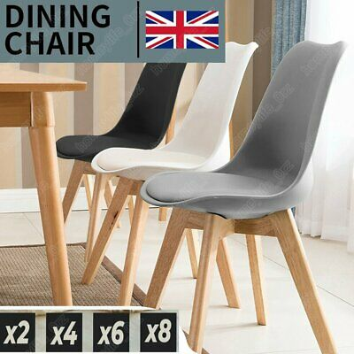 £65.79 • Buy Set Of 2 4 Dining Chair Tulip Chairs Wooden Legs Office Kitchen Padded Seat NEW
