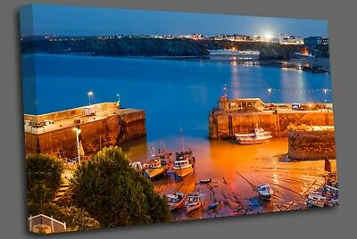 £17.99 • Buy Night Shot Of Newquay Harbour Cornwall England Uk Canvas Wall Art Picture Print