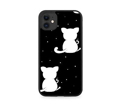 £9.90 • Buy Black And White Cat Symbol Rubber Phone Case Ears Ear Body Cats Cute Girls F243