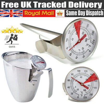 £5.79 • Buy Milk Frothing Thermometer Coffee Maker Temperature Jug Pan Clip On Steel Pod UK.