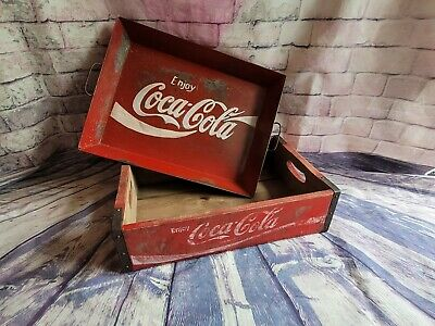 £50 • Buy Vintage Look Coca-Cola Wooden Crate And Tin Tray