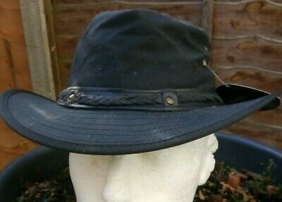 £19.95 • Buy Aussie Style Bush Hat Oil Skin Waxed Crushable Leather Band Black Or Brown