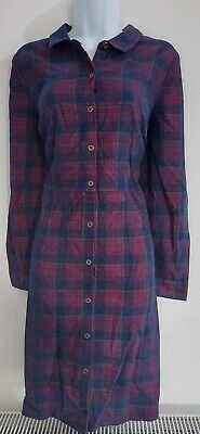 AU39.46 • Buy Womens Tu Shirt Dress Size 14 Red Blue Checked Casual Cord Vgc