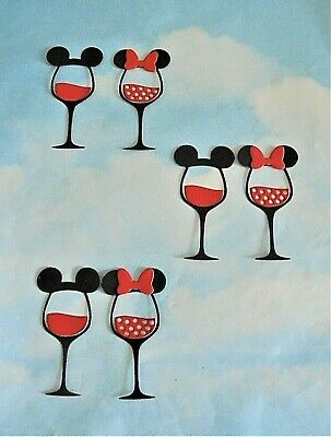 £1 • Buy Die Cut Small Mickey / Minnie Mouse Wine Glasses Shapes X 6