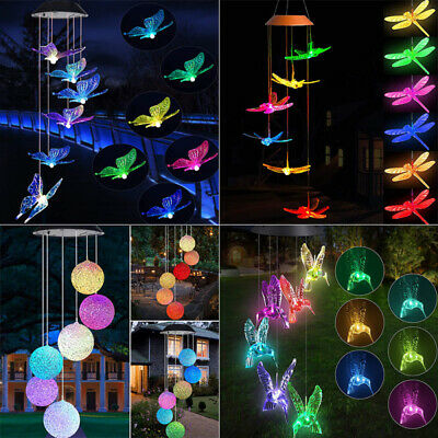 £10.66 • Buy Wind Chime Solar Light LED Color Changing Garden Path Hanging Lamp Outdoor Decor