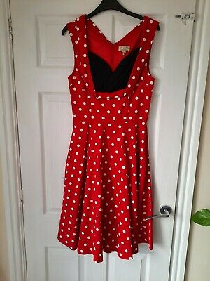 £15 • Buy Lindy Bop Red Polka Dot Circle Flare 50s Dress Size 10 Worn Once