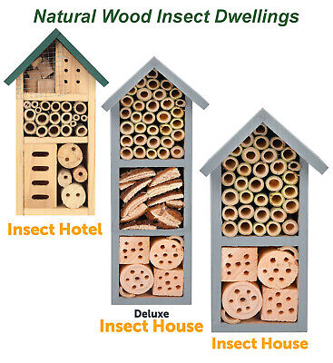 £11.50 • Buy Wooden Insect Bee Bug Hotel House Natural Wood Shelter Garden Nest Box Nesting