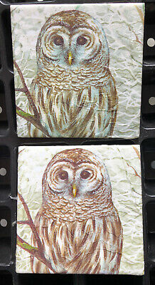 £5.95 • Buy 2 X Handcrafted OWL,s 10x10 Cm Upcycle Ceramic Tile Coaster Decoupage And Sealed