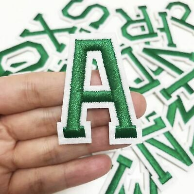 £0.99 • Buy Dark Green Letter Patch Patches Iron On Sew On Alphabet Embroidery Clothes Retro