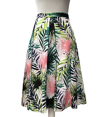 £10.95 • Buy Julipa Skirt Cotton Floral Tropical Leaf Midi Flare Summer Size 20 Green Pink