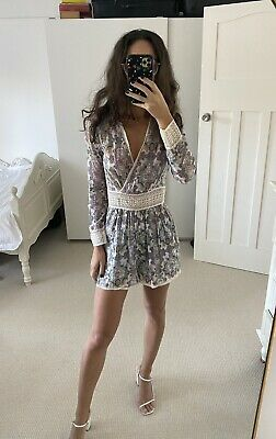 AU96.15 • Buy Zimmermann Playsuit Size 0 Paisley Print With Crochet Waist And Trim