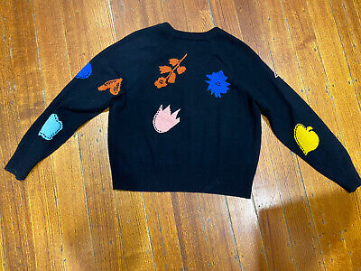 AU90 • Buy Gorman 100% Lambswool Jumper. Black With Bright Bold Print. Size 6