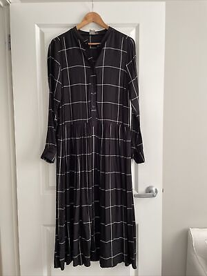 AU22.50 • Buy Asos Long Sleeve MIDI Dress In Grid Check Print With Rib Neck Size 10 Worn Once