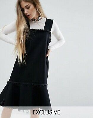 AU9.95 • Buy Asos Reclaimed Vintage Denim Pinafore Dress With Frayed Edges Size 10 - 12