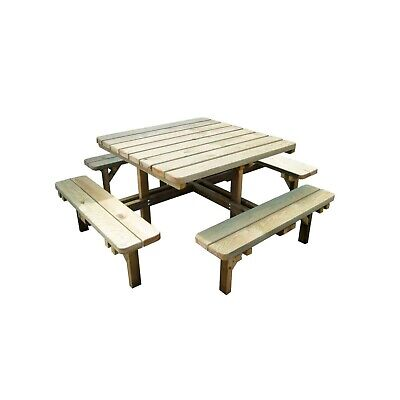 £319 • Buy Quality Wooden Square Pub 8 Seater Picnic Table Heavy Pressure Treated Bench