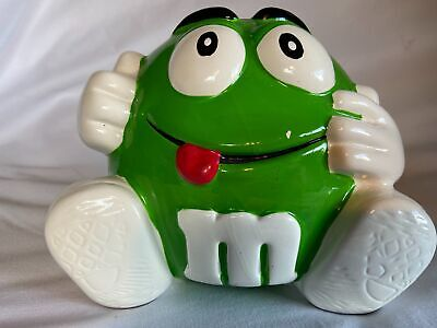 $14.99 • Buy M & M Green Cookie Candy Snack Jar With Feet Hands Canister Galerie Mars 2002 A