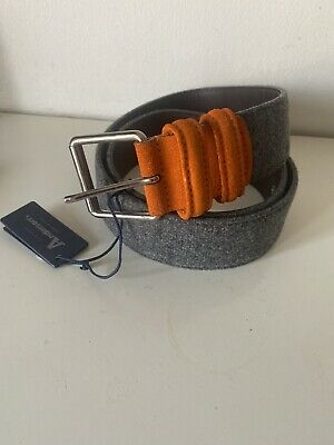 £45 • Buy Anderson's Men Grey Multi Wide Belt 38UK/ 95EU Made In Italy New With Tag