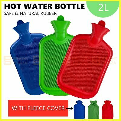 AU16.95 • Buy 2L Hot Water Bottle With Cover Winter Warm Rubber Bag Relaxing Warmer Comfort