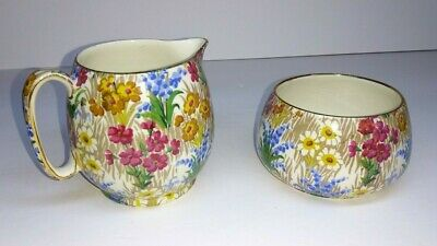 $ CDN72.78 • Buy Royal Winton Ivory Grimwades England Creamer Sugar Bowl Marguerite Floral Gold