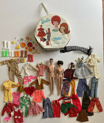 $ CDN228.54 • Buy 1960's Midge And Ken Barbie Dolls With Clothes Lot & Case
