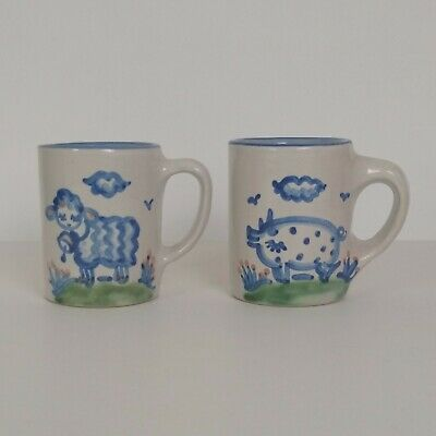 $24.95 • Buy Pair Of Vintage M.A. Hadley Ceramic Hand Painted Mugs Sheep Pig W/ The End