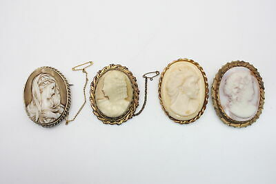 4 X True Vintage & Antique CAMEO BROOCHES Inc. Decorative Frame, Religious • 2.20£