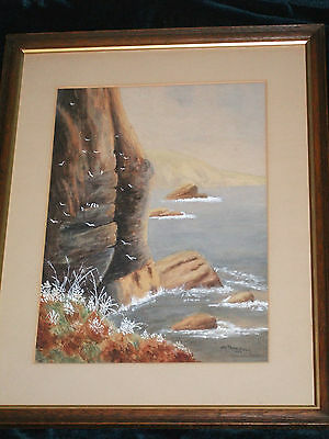 Original Big Victorian Painting Cliffs By Sea II 1889 Signed  • 19.99£